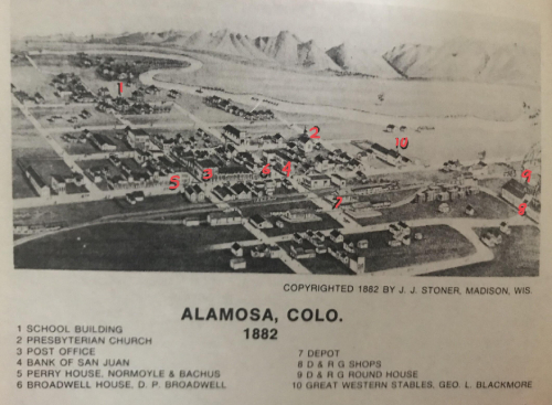 Caption: Alamosa mid 1940s Credit: Map from the SLV Historian