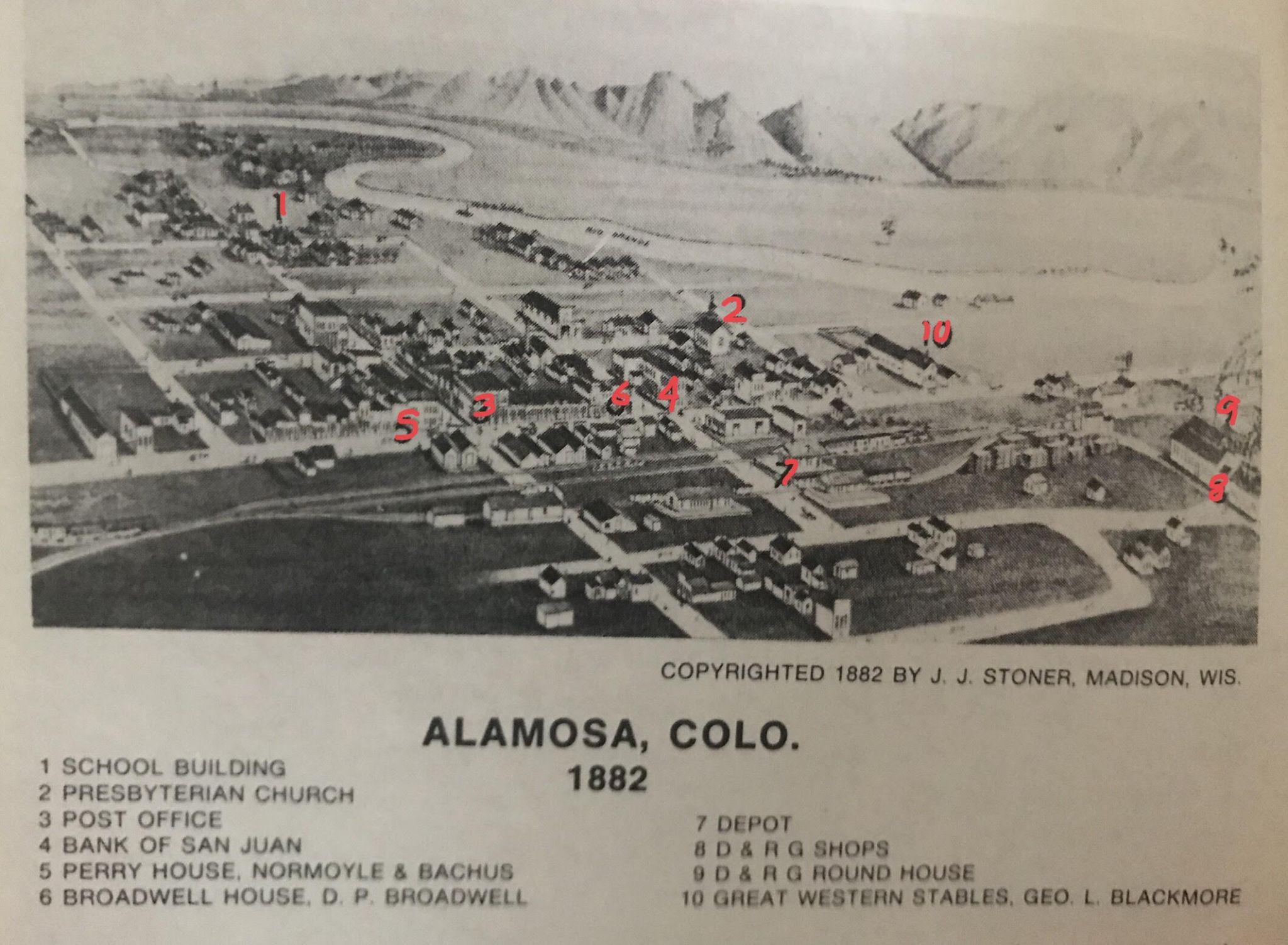 Caption: Alamosa 1882 map courtesy of the SLV Historian
